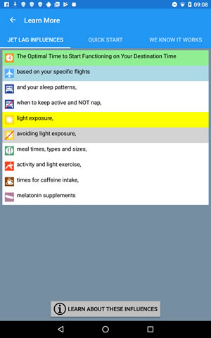 Stop Jet Lag on Android major influences on jet lag