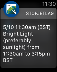 StopJetLag for Apple Watch - Jet Lag Advice Notification for Bright Light