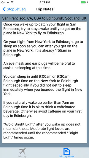 StopJetLag on iPhone trip notes